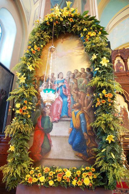 Храмовая икона Сошествия Святого Духа. © Православный паломнический центр «Россия в красках» в Иерусалиме