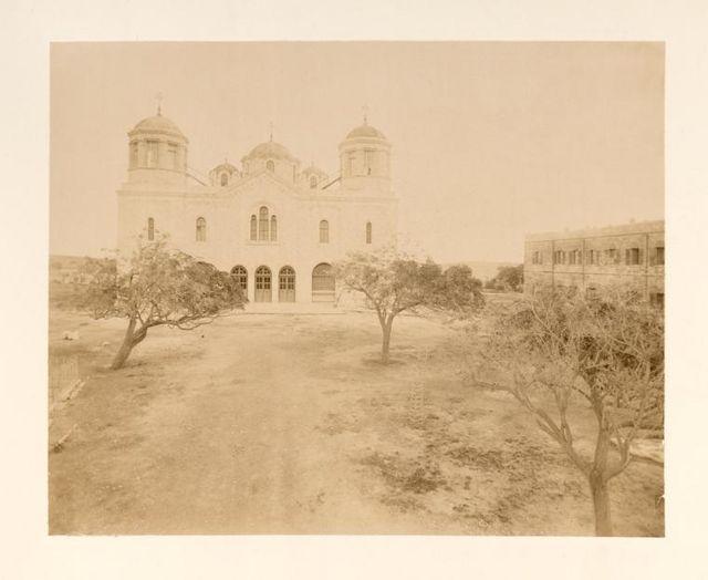 Общий вид на здание Троицкого собора в Иерусалиме. © Архив Иерусалимского отделения ИППО. Фото о. Тимона. Конец XIX века