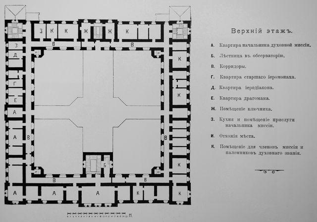 Схематический план здания Русской Духовной Миссии в Иерусалиме 1907 года. Верхний этаж © Архив Иерусалимского отделения ИППО. План 1907 года
