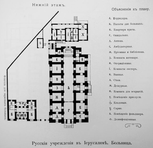 хематический план русской больницы ИППО в Иерусалиме. © Иерусалимское отделение ИППО