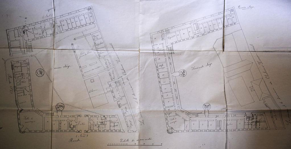 Архитектурный план городского архитектора Ибрагима Мусы 28 февраля 1895 г. 1-й и 2-й этаж. © Иерусалимское отделение ИППО