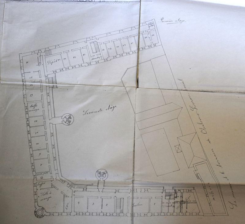 Архитектурный план городского архитектора Ибрагима Мусы 28 февраля 1895 г. 2-й этаж © Иерусалимское отделение ИППО