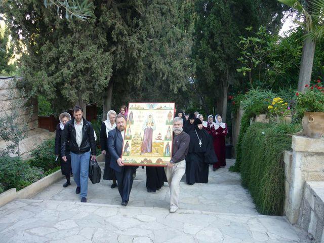 Крестный ход в монастыре св.Марии Магдалины в Гефсимании