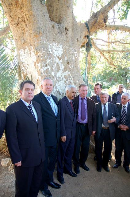 Председатель ИППО С.В.Степашин с делегацией у смоковницы Закхея. © Иерусалимское отделение ИППО