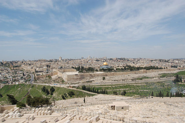 Панорама на Храмовую гору и Старый город Иерусалима с Елеонской горы. © Православный паломнический центр «Россия в красках» в Иерусалиме