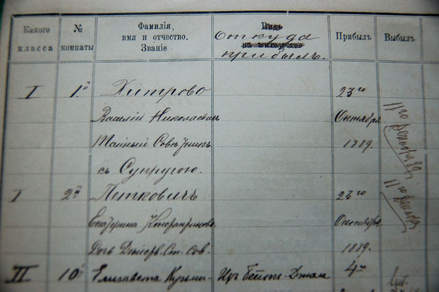 Запись в домовой книге о пребывани В.Н.Хитрово с супругой на Сергиевском подворье ИППО. 23 октября 1889 г. © ИППО